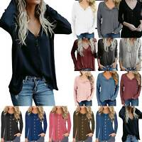 Womens Long Sleeve Pullover Loose Sweater Ladies V Neck Jumper Casual Blouse Top