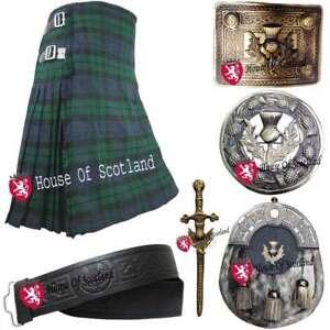 Scottish Highland Kilt 8 Yards Set Thistle Crest Pin Brooch,Belt Buckle Sporran