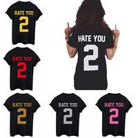 Fashion Women Girl HATE YOU 2 Tumblr Blogger T-Shirt Hipster Tops Shirt Blouse