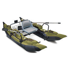 Inflatable Pontoon Boat W/ Motor Mount Lake Fishing Water Craft Oars Padded Seat