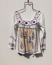 Vintage Indian Gauze Top. Ethnic Embroidered Hippie People Peasant Free Ship
