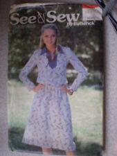 Vintage Butterick Pattern 1980s Dress 6224 8 10 12 SEWING
