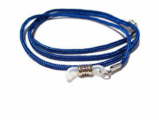 Dark Blue Paracord Eyeglass Holder, Eyeglass Chain Necklace, Clear Grips 351
