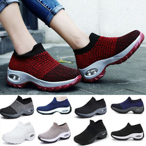 WOMENS SLIP ON SOCK SNEAKERS CLASSIC JOGGING PUMPS AIR CUSHION SHOES TRAINERS AU