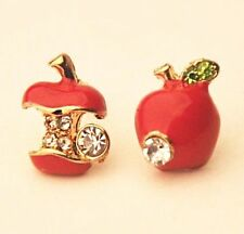 FD4859 Korea Fashion Women Girl Crystal Rhinestone Red Apple Stud Earrings Gift♫