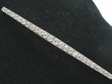 "Platinum Vintage Old Mine Diamond Milgrain Pin / Brooch 25-Stones 4.25"" 7.45Ct"