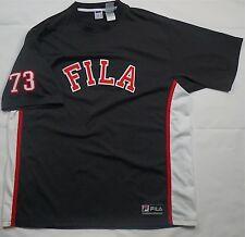 Rare Vintage Fila 73 Baseball Embroidered Spell Out Logo Jersey Shirt 90s Blk Xl
