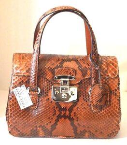 $3400 NEW GUCCI 'Lady Lock' Python Top Handle Bag Orange Brown 331827 6329