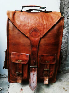Men's Real Hiking Leather Backpack Laptop Bag Large Travel Camping Carry On New