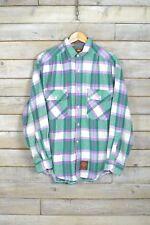 Vintage Verde Grueso Camisa de cuadros (L)