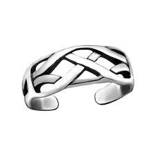 Tjs 925 Sterling Silver Toe Ring Celtic Knot Weave Design Adjustable Oxidised