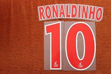 Flocage RONALDINHO n°10 Rouge PSG  patch shirt Paris Saint Germain  maillot -