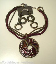 Chico's Vintage Moreau Enameled Pendant Necklace Bronze Disc Dangle Earrings Set