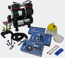 Profi Airbrush Kompressor Set AS196 3 Airbrushpistolen Drucktank 3 L Zubehör