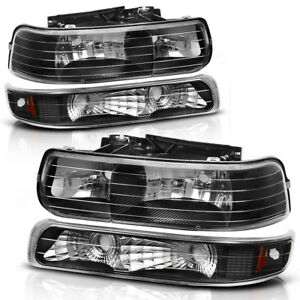 Headlights Headlamps Lamps Pair for 1999-2002 Silverado 2000-2006 Tahoe Suburban
