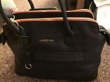 London Fog Large Satchel Shoulder Bag Handbag Navy Tote Faux Leather NWOT $150.