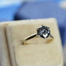 Engagement Party Ring 1.75Ct Gray Round Genuine Moissanite Solid 10k Yellow Gold