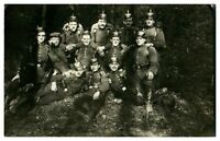 Antique WW1 military RPPC postcard group of German soldiers in woodland