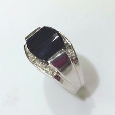 14 k White gold  Diamond ring black  faceted Agate/Onyx    Made in the USA