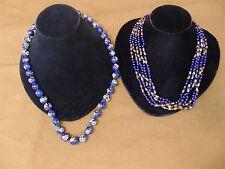 2 Vintage Lapis Lazuli 5 Strand Tube Bead Cloisonne Cobalt Blue Enamel NECKLACE