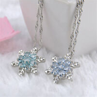 925 Silver Xmas Vintage Blue Crystal Snowflake Flower Pendant Necklace Jewelry