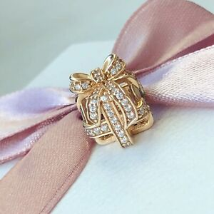 Genuine New Pandora 14ct Gold All Wrapped Up Openwork Present Charm 750839CZ