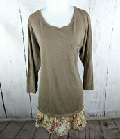 LOGO Lori Goldstein Knit Ruffle Hem Tunic Large Taupe Floral Long Sleeve L Top
