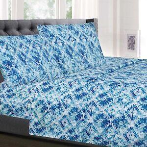Aqualina Blue Geometric Printed 4-Piece 1500 Supreme Collection Sheet Set