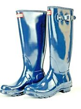 Hunter Original Womens Round Toe Tall Gloss Rain Boots Navy Blue Size US 7