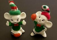 VINTAGE UCGC SET OF TWO CHRITSMAS CERAMIC MOUSE FIGURINES WITH KNIT HATS