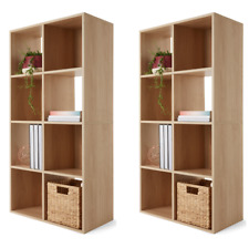 Set of 2 Natural 8 Cube Unit Book Shelf Case Oak Look Storage Home Office
