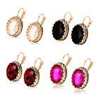 Womens Blue Oval Crystal Hoop Earrings Korean Earings Yellow Gold Fiiled Huggie