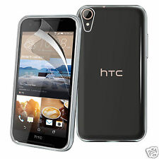 Tough Thin Clear TPU Gel Case Cover & Screen Guard for HTC Desire 830
