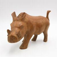 T155: Vintage Hand Carved Wooden Warthog Pig Figurine Ornament