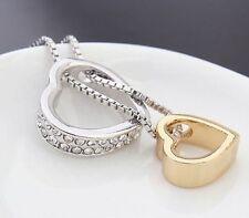 ❤️ Heart 2 Heart Pendant Necklace, Swarovski Crystal 18k Rhodium Plated Chain