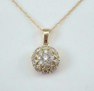 1.30Ct Round Cut VVS1 Diamond Cluster Pendant 14K Yellow Gold Over 18 Free Chain