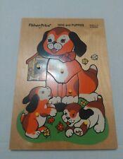Vintage Fisher Price Wooden 8 Piece Puzzle Dog Puppies 511