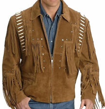 Mens Handmade White Western Wear Leather Jacket Fringed Leather Suede Jacket