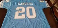 Barry Sanders signed blue Detroit Lions XL PAAS COA Sticker/Card Jersey