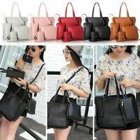 Fashion Women 4PCS PU Leather Handbag Set Shoulder Tote Messenger Bags Purse Bag