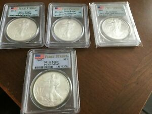 Miscellaneous PCGS MS69 Silver Eagles, Assorted Dates, Labels