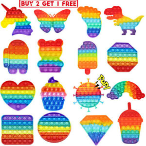 Rainbow Popit Fidget Toy Push Bubble Sensory Stress Relief Kids Family Games New