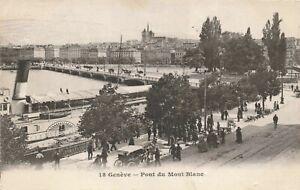 Postcard Ephemera Geneve Pont du Mont Blanc Bridge Geneva Switzerland Swiss CHE