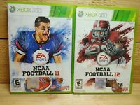 Xbox 360 College Football Video Game Lot NCAA Football 11 + 12 Complete Tested