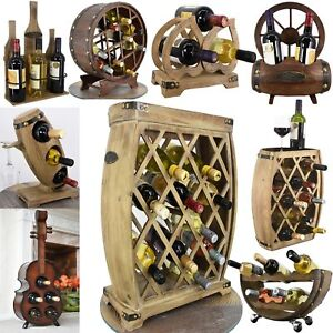 Hand Made Natural Wooden Freestanding Wine Rack Bottle Holder Display Storage
