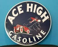 VINTAGE ACE HIGH GASOLINE AIRPLANE CAR GAS MOTOR OIL SERVICE STATION PUMP SIGN