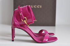 NIB Auth Gucci Ursula Patent Leather Horsebit Ankle Strap Sandals sz 8 / 38