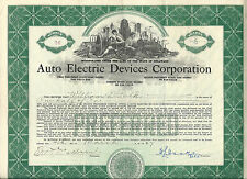 1927, Auto Electric Devices Corporation Stock Certificate