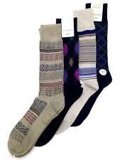 $45 Perry Ellis Men'S 4-Pair Pack Black Brown Striped Crew Dress Socks Shoe 7-12