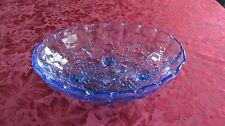 Vintage Indiana Glass Blue Oval Fruit Bowl Harvest Grapes Centerpiece